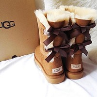 UGG Winter Trending Women Cute Two Bow Leather Snow Boots Brown I/A