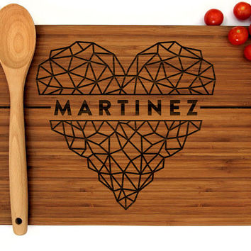 Personalized Wedding Gift, Custom Cutting Board, Anniversary Gift, Heart with Last Name, Bridal Shower, Christmas Gift, Birthday Gift