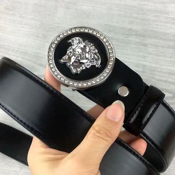 Versace 2019 new female personality personality round head buckle belt silver