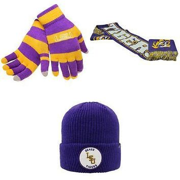 Licensed NCAA LSU Tigers Glove Stripe Knit Spirit Scarf And Wharf Beanie Hat 3Pk 65466 KO_19_1