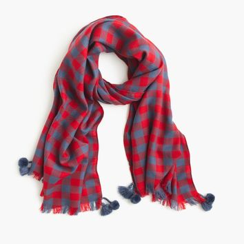 Yarn-dyed wool scarf in buffalo check : Women scarves | J.Crew