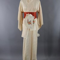 Vintage Silk Kimono Robe / Ivory Orange Hex Hexagon Print
