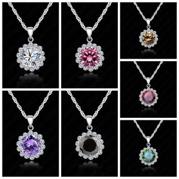 JEXXI Beautiful Woman Wedding Jewelry 925 Sterling Silver Chain Cubic Zirconia  Necklace Pendants Crystal Lovely Necklaces