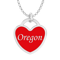 Oregon Heart Necklace in Solid Sterling Silver