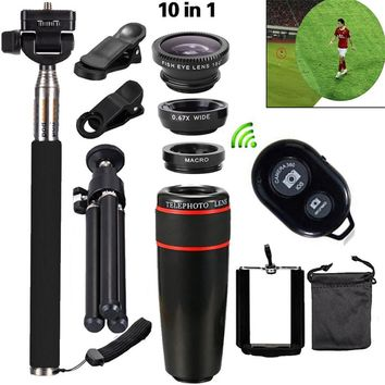 New Arrival 10in1 Mobile Phone Camera Lens Kits 12x Telephoto Lens Wide Angle Macro Lens Fish Eye Selfie Stick Monopod Tripod