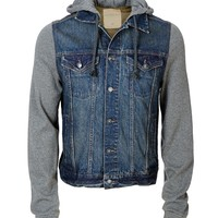 Knit Sleeve Hooded Denim Jacket - Aeropostale