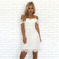 Vivianne Lace Off Shoulder Dress In Ivory