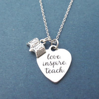Love, Inspire, Teach, Book, Silver, Necklace, Heart, Love, Teach, Jewelry, Birthday, Lovers, Friends, Sister, Gift, Jewelry
