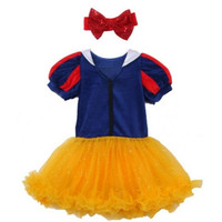 Snow White inspired princess tutu costume  with matching red sparle headband.  Great for Birthday parties, Halloween or dress up.
