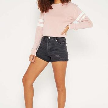 Pink Stripe Sleeve Crop Sweatshirt