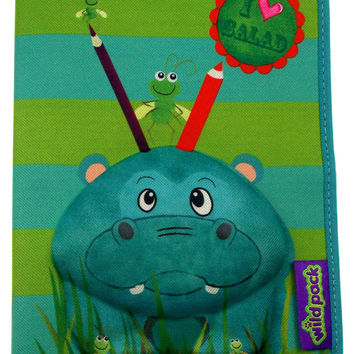 Okiedog Wildpack 3D Pencil Case Pippa Hippo Green Zippered Pouch School Supply