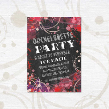 Printable Bachelorette Invitation - Graffiti Party - Wedding, Shower, Birthday, Party - Paint splotches