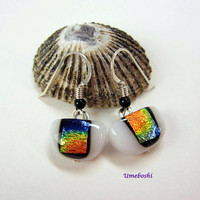 Rainbows on White Dichroic Fused Glass Dangle Drop Earrings - Handmade Dichroic Glass Jewelry Crescent Shaped Cabochons