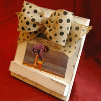 Polka Dot Burlap Barnwood Picture Frame // Photo Frame // 5x7 // 4x6