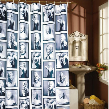 YIDEA Waterproof Shower Bath Bathroom Curtain With 12 Hooks Marilyn Monroe Romantic Curtain = 1946141444
