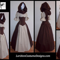 Custom Size AND Colors Under-Bust Corset, Panel Skirt, and Short Sleeve Chemise Top - by LoriAnn Costume Designs
