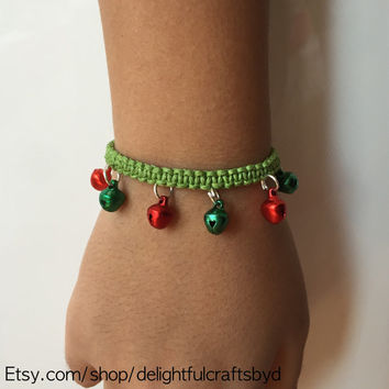 Hemp bracelet, Christmas inspired adjustable  macrame bell charm bracelet