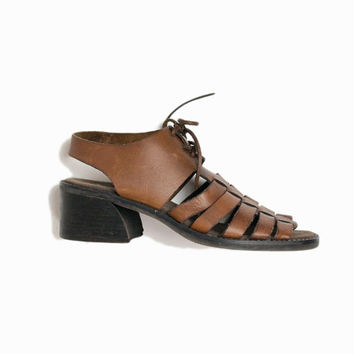 Vintage Chunky Heel Leather Fisherman Sandals - women's 7
