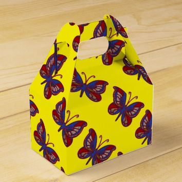 Red White Blue Butterfly-Yellow Gable Favor Box