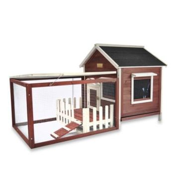 Advantek White Picket Fence Rabbit Hutch in Auburn