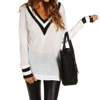 Sale-black And White Pullover Sweater
