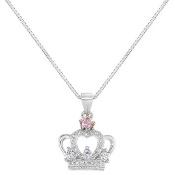 925 Sterling Silver Clear Pink CZ Princess Crown Necklace Pendant Girls Kids 16""
