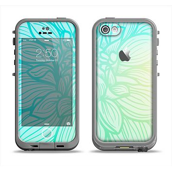 The Faded Blue & Green Subtle Floral Apple iPhone 5c LifeProof Fre Case Skin Set