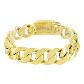 Miami Cuban Link Bracelet Stainless Steel Gold Finish 18 MM 100+ G Box Lock Mens