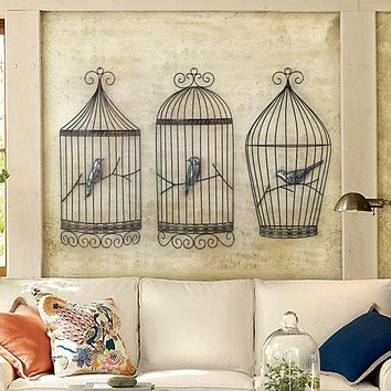 European Retro Bird cage wall three-dimensional wall decoration