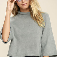 Jack by BB Dakota Claudio Light Grey Cropped Sweater