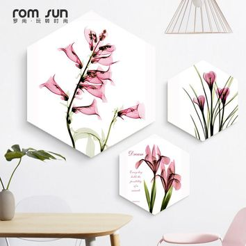 Nordic Pink Flowers Reflection With Quote Hexagon Canvas Poster Print Wall Art Pictures For Living Room Bedroom Dinning Room