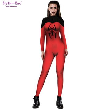Women Role Play Jumpsuits Yoga Set Long Sleeves Slim Spider Suit Cosplay Halloween Bodysuit Mesh Print Fancy Dress Party Costume