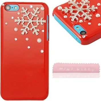 Mini kitty- high quality new bling rhinestone pearl snowflake snowflower red hard case for iphone 5c