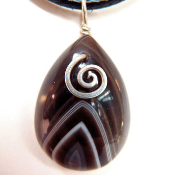 Botswana Agate Pendant Necklace Sterling Silver .925 Wire Wrapped Banded Agate Jewelry Boho Striped Rock Trending Jewelry FREE SHIPPING
