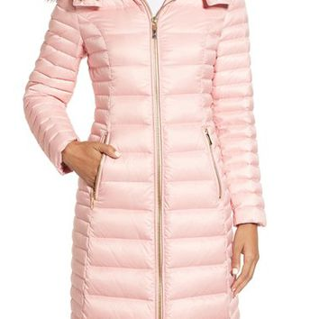 kate spade new york quilted down jacket with faux fur trim | Nordstrom