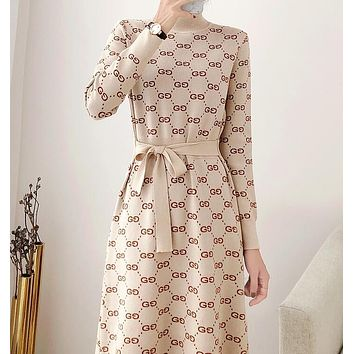 GUCCI Fashion Women Casual GG Letter Jacquard Long Sleeve Round Collar Knit Dress