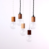 Wood veneer pendant lamp
