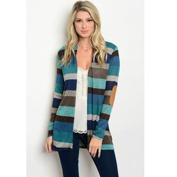 Striped Teal Elbow Patch Cardigan