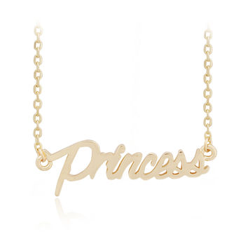 Name Princess Pendant Golden Chain Necklace
