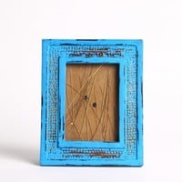 Distressed Handmade Wooden Turquoise Blue Photo Frame with Gold Accents for 5''x7'' Photos (8.5x10.5)