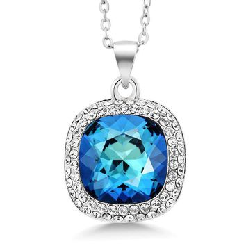 "Multi-color Rhodium Plated Pendant With 18"" Chain Made With Swarovski Crystal"