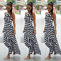 2016 Fashion Women's Geometric Maxi Long Casual Summer Beach Party Chiffon Dress