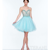 Terani 151P0006 Sky Blue Strapless Sweetheart Sequined Party Dress 2015 Prom Dresses