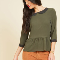 Evening at the Easel Ruffled Top in Olive