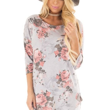 Stormy Grey 3/4 Sleeve Floral Tunic with Rounded Hemline