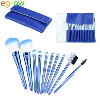 10pcs Professional Makeup Brushes Set Soft Cosmetic Brush with Leather Bag Case (Color: Blue) = 1843134148