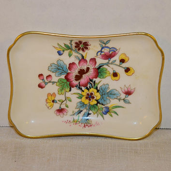 Coalport Ming Rose Ashtray Vintage Rectangular Trinket Tray Fine Bone China Pin Dish Coalport Made in England Floral Gilded Small Dish