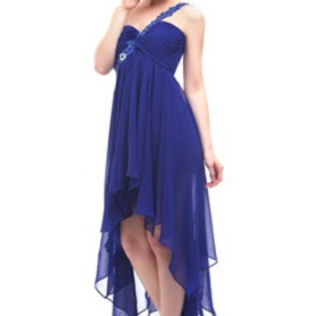 Royal Blue Back Cutout Applique One Shoulder Hi-Lo Dress