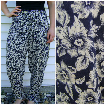 80s floral rayon harem pants vintage blue ivory size s/m small medium boho hipster loose fit ladies high waist trousers 1980s retro flower
