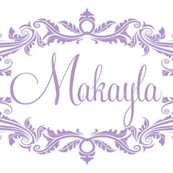 Personalized Vinyl Name Wall Decal - Shabby Chic Oval Damask Border Baby Girl Nursery Toddler Teen Room 22H x 36W GN009